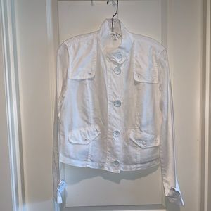 Cabi White Linen Blazer With Buttons